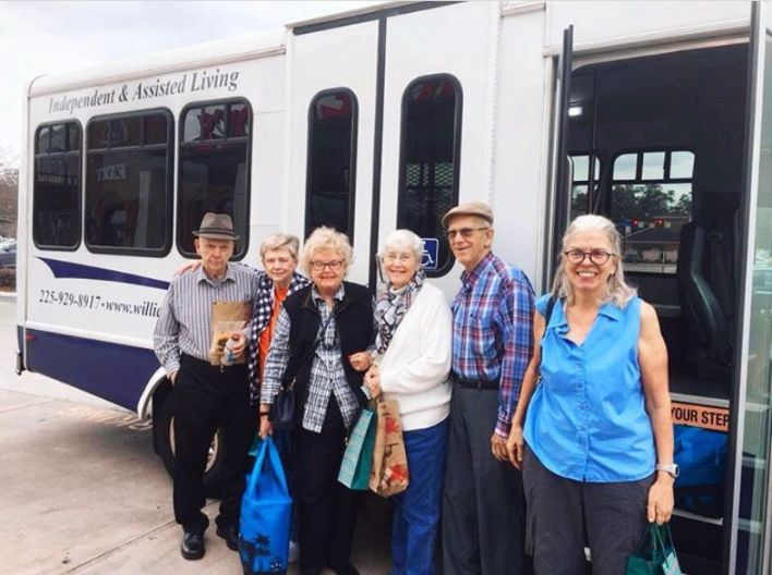 Group of residents going on a bus trip