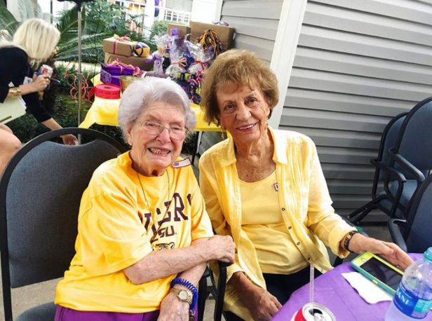 Helen with freind at LSU tailgate party