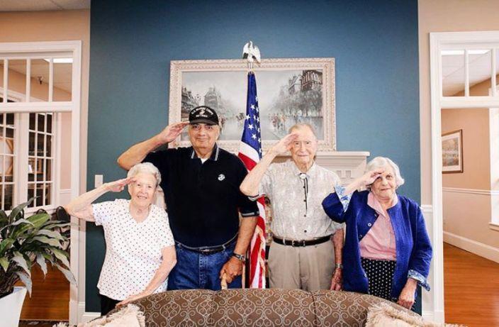 Williamsburg Veterans Saluting the camera